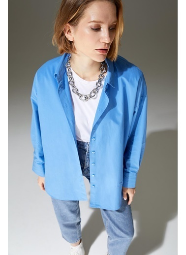 DeFacto Basic Oversize Fit Pamuklu Poplin Gömlek Mavi